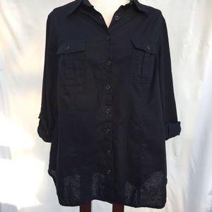 Coldwater Creek black button down tunic size 14/16